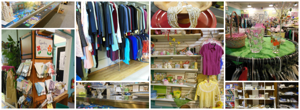 Collage of thrift shop merchandise including Easter items and men's suits.