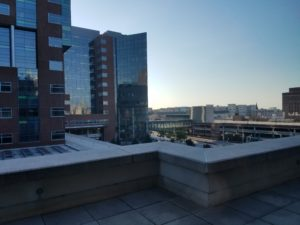 View from Johns Hopkins Hospital room of modern buildings and a setting sun