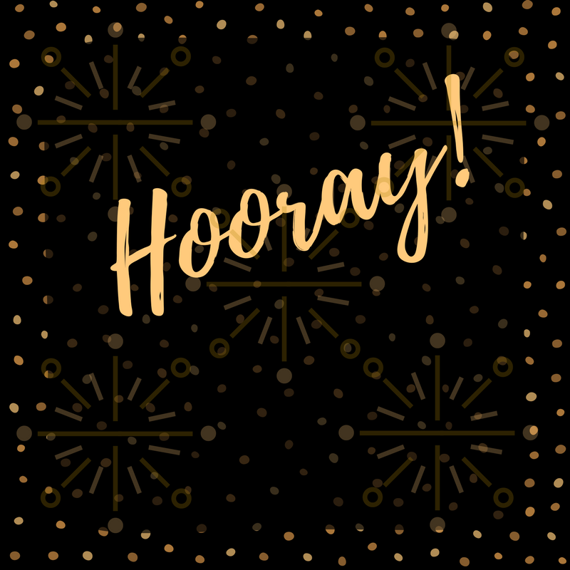 Gold Hooray on a black and gold celebratory background