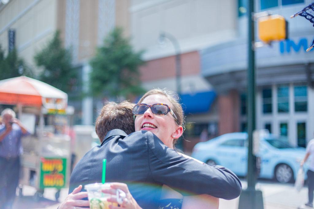 Jarrod hugging Caitlin
